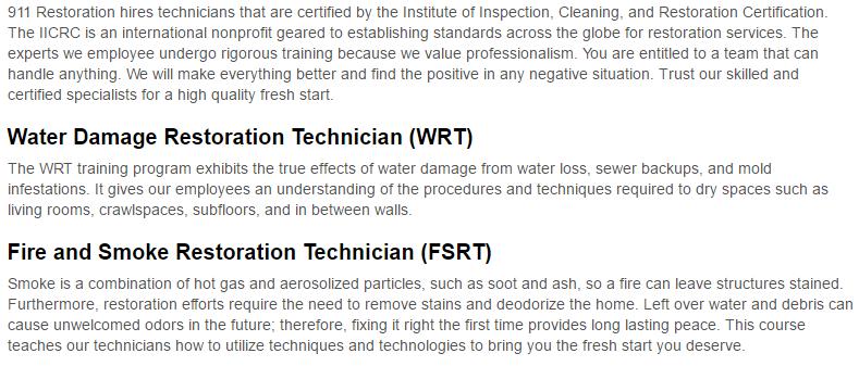 911 Restoration of Colorado Springs Certification Page